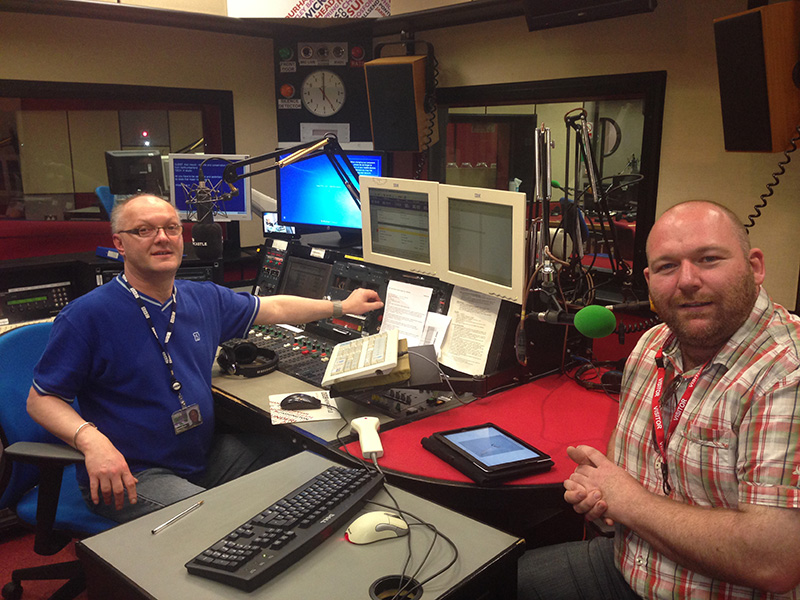BBC Radio Newcastle studio with Jonathan Miles