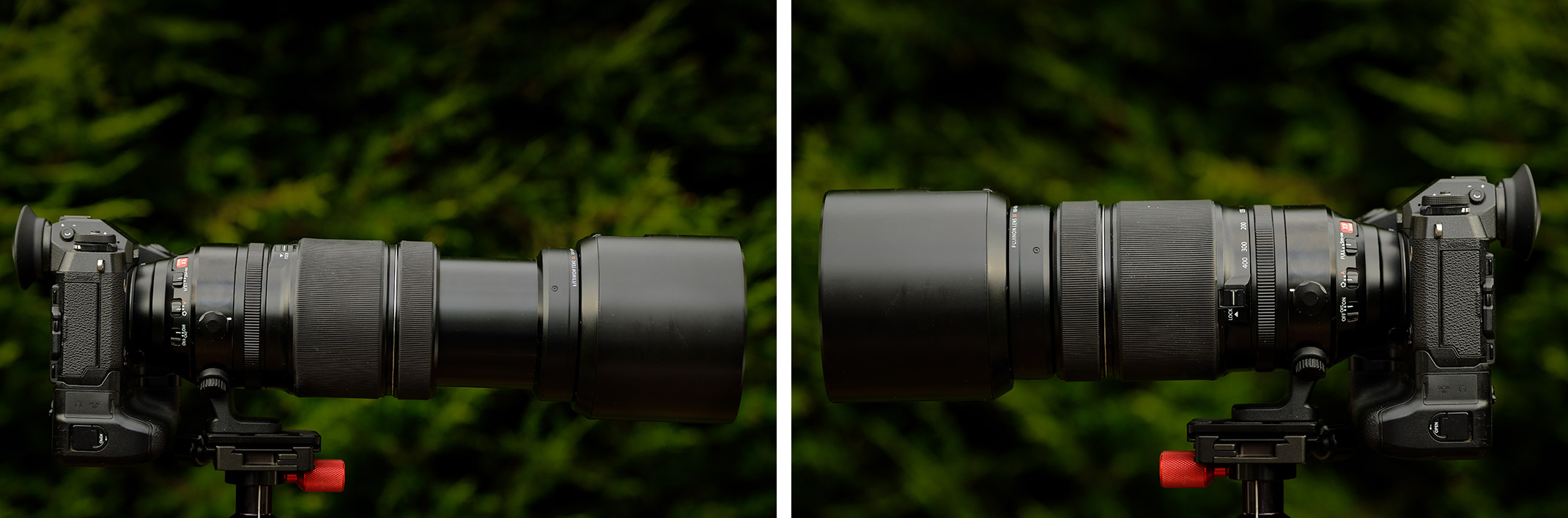 Fujifilm 100-400 f/4.5-5.6 (Left) Extended to 400mm with lens hood attached, (Right) Retracted at 100mm with lens hood attached.