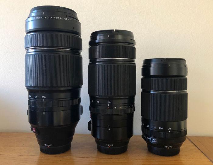 Fujifilm Fujinon 100-400, 50-140, 70-300 sizes compared.